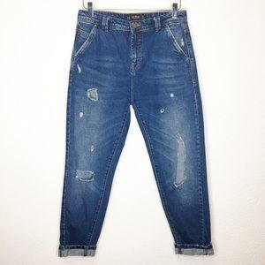 Zara High Waist Boyfriend Ankle Jeans